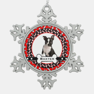 Pampered Pooch Dog Photo Bones and Paw Prints Snowflake Pewter Christmas Ornament