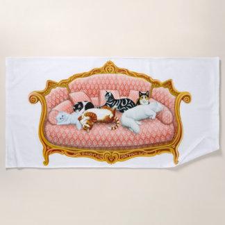 Pampered Sofa Cats Beach Towel