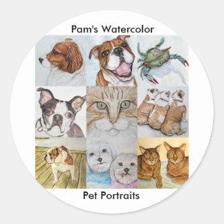 Pam's Watercolor, Pet Portraits Classic Round Sticker