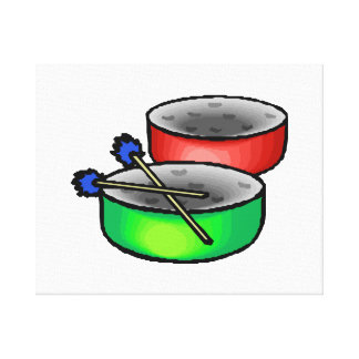 pan drums with mallets music percussion.png gallery wrap canvas