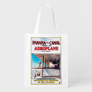 Panama and the Canal Aeroplane Movie Promo Poste Reusable Grocery Bag
