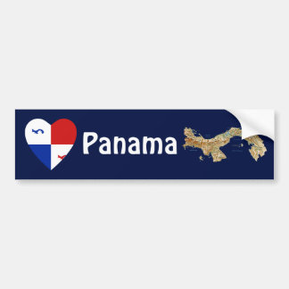 Panama Banner Heart + Map Bumper Sticker