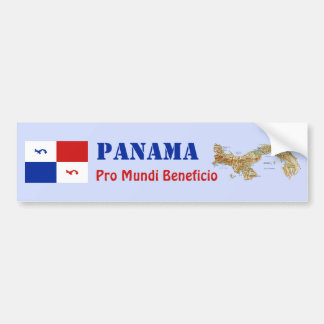 Panama Banner + Map Bumper Sticker