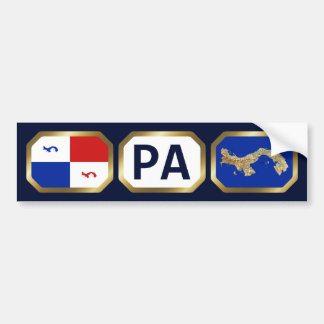 Panama Banner Map Code Bumper Sticker