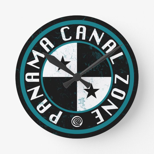 Panama Canal Zone Circle Design Wall Clocks