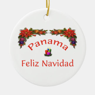 Panama Christmas 1 Round Ceramic Ornament