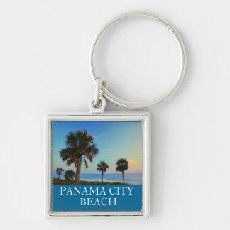 Panama City Beach FL Palm Tree Sunset Keyring Silver-Colored Square Keychain