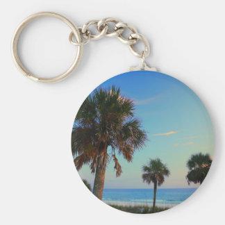 Panama City Beach, Florida palm trees Basic Round Button Keychain