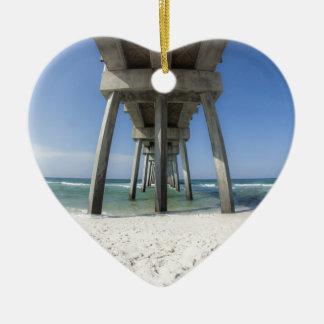 Panama City Beach Pier Ceramic Heart Ornament