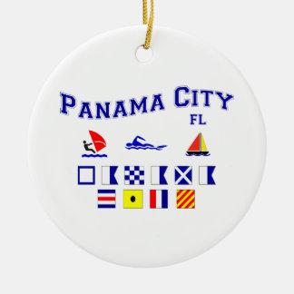 Panama City, FL - Maritime Spelling Ceramic Ornament