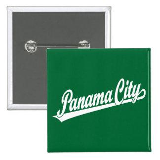 Panama City script logo in white 2 Inch Square Button
