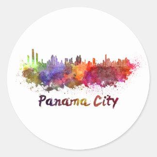 Panama City skyline in watercolor Classic Round Sticker
