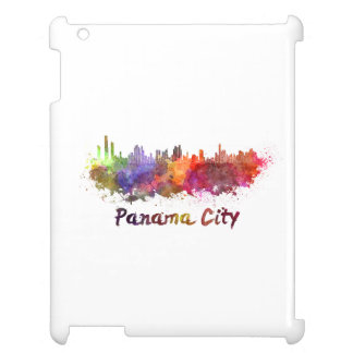 Panama City skyline in watercolor iPad Covers