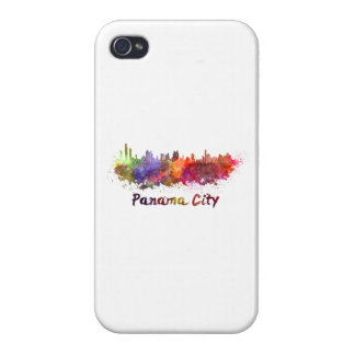 Panama City skyline in watercolor iPhone 4 Cover