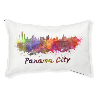 Panama City skyline in watercolor Pet Bed