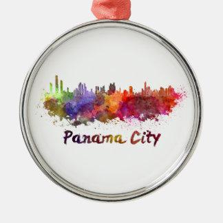 Panama City skyline in watercolor Silver-Colored Round Ornament