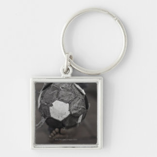 Panamanian street soccer Silver-Colored square keychain