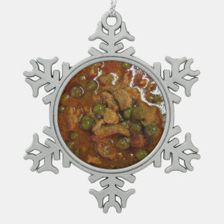 Panang Thai Curry [พะแนง] ... Thailand Street Food Snowflake Pewter Christmas Ornament
