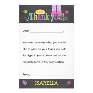Pancake and Pajama Party Thank you, Custom Fill In Custom Stationery