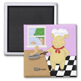 Pancake Flipping Pig Chef Magnet