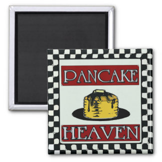 Pancake Heaven Distressed Sign Vintage Square Magnet