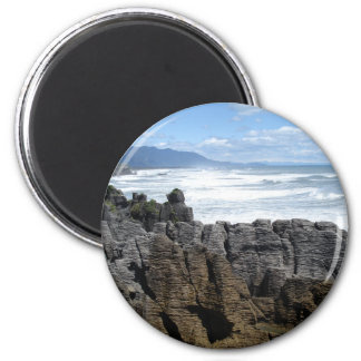 Pancake Rocks, New Zealand 2 Inch Round Magnet