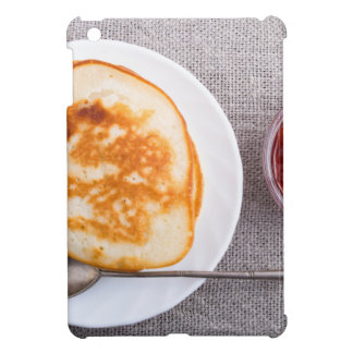 Pancakes and a glass cup with strawberry jam iPad mini cases