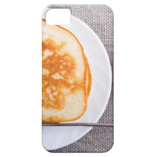 Pancakes and a glass cup with strawberry jam iPhone 5 covers
