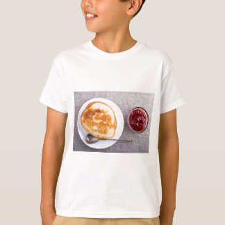 Pancakes and a glass cup with strawberry jam T-Shirt