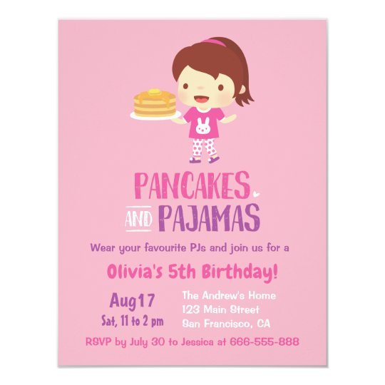 Pancakes and Girl in Pyjamas Birthday Party Card
