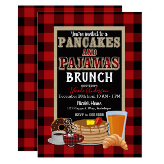 Pancakes and Pajamas Brunch Red Buffalo Plaid Card