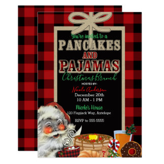 Pancakes and Pajamas Holiday Red Buffalo Plaid Card