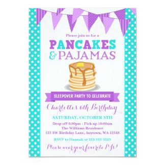 """Pancakes and Pajamas Sleepover Purple Birthday 4.5"""" X 6.25"""" Invitation Card"""