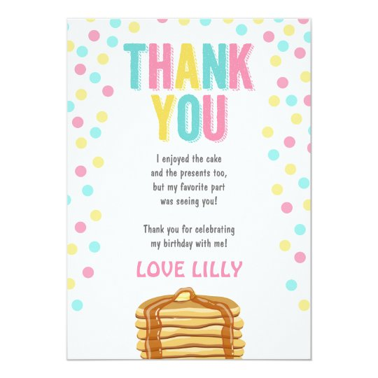 Pancakes and Pyjamas Birthday Thank You Card