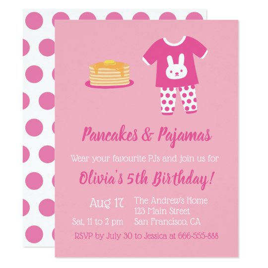 Pancakes and Pyjamas Polka Dots Birthday Party Card