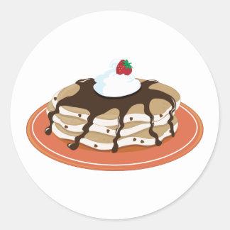 Pancakes Chocolate Round Sticker