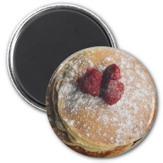 Pancakes Powdered Sugar and Raspberries  Magnet