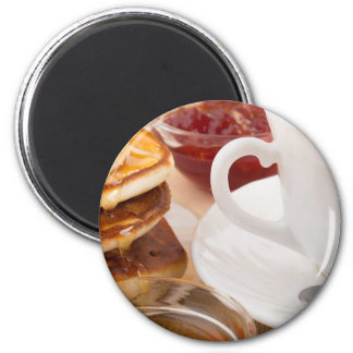 Pancakes with honey, strawberry jam 2 inch round magnet