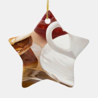 Pancakes with honey, strawberry jam ceramic ornament