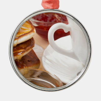 Pancakes with honey, strawberry jam metal ornament