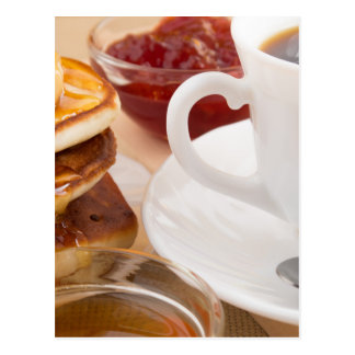 Pancakes with honey, strawberry jam postcard