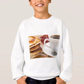 Pancakes with honey, strawberry jam sweatshirt