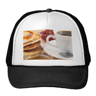 Pancakes with honey, strawberry jam trucker hat