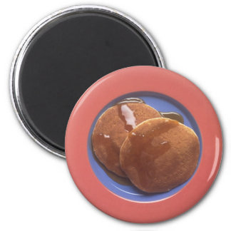 Pancakes with Maple Syrup 2 Inch Round Magnet