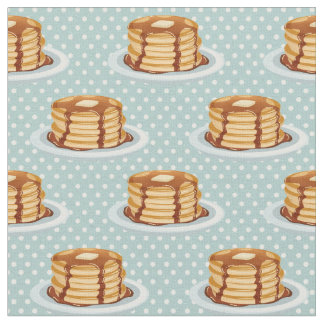 Pancakes with Maple Syrup & Polkadot Pattern Fabric