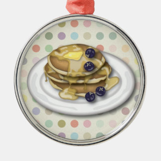 Pancakes With Syrup And Blueberries Metal Ornament