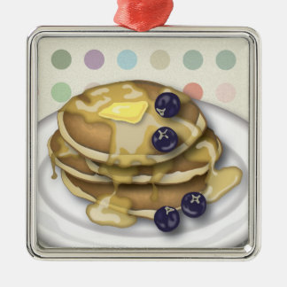 Pancakes With Syrup And Blueberries Silver-Colored Square Ornament