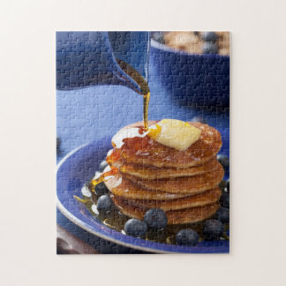 Pancakes with syrup and blueberry jigsaw puzzle