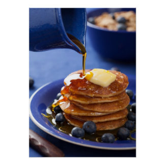 Pancakes with syrup and blueberry poster