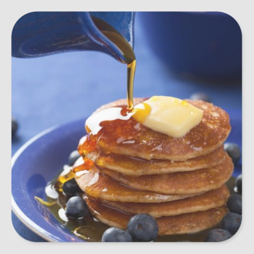 Pancakes with syrup and blueberry sticker